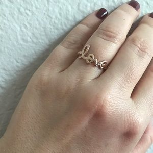 Rose Gold Plated Sterling Silver 'Love' ring